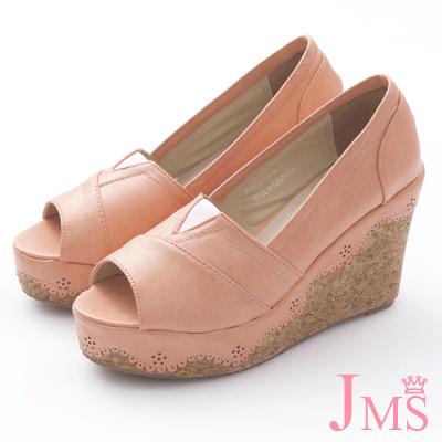 JMS-早春推薦皮革刻花滾邊厚底楔型魚口娃娃鞋-粉色