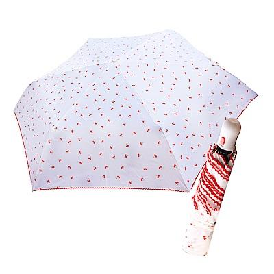 舒亦媚-抗UV防曬自動三折晴雨傘(櫻桃勾邊-白底小紅花)