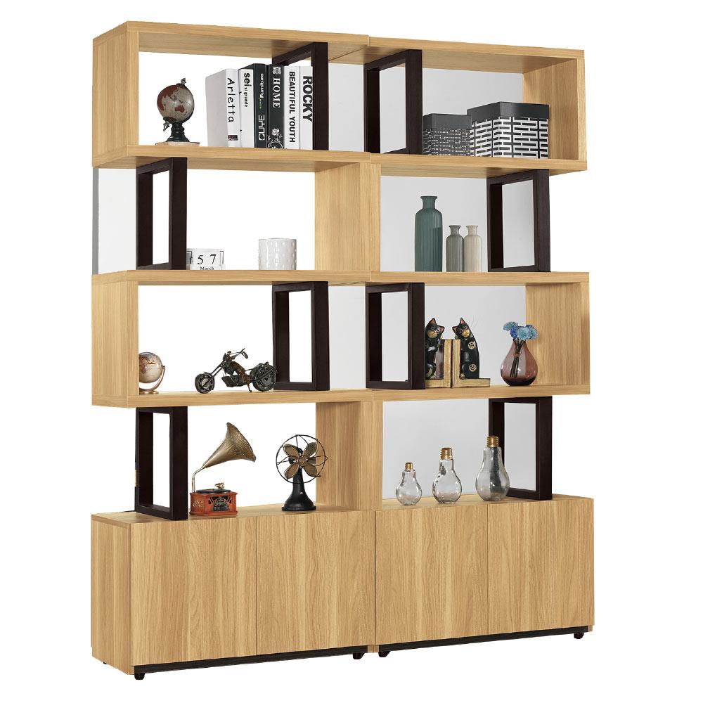 品家居  肯詩5.3尺木紋雙色玄關櫃/隔間櫃-160x35x197.2cm免組
