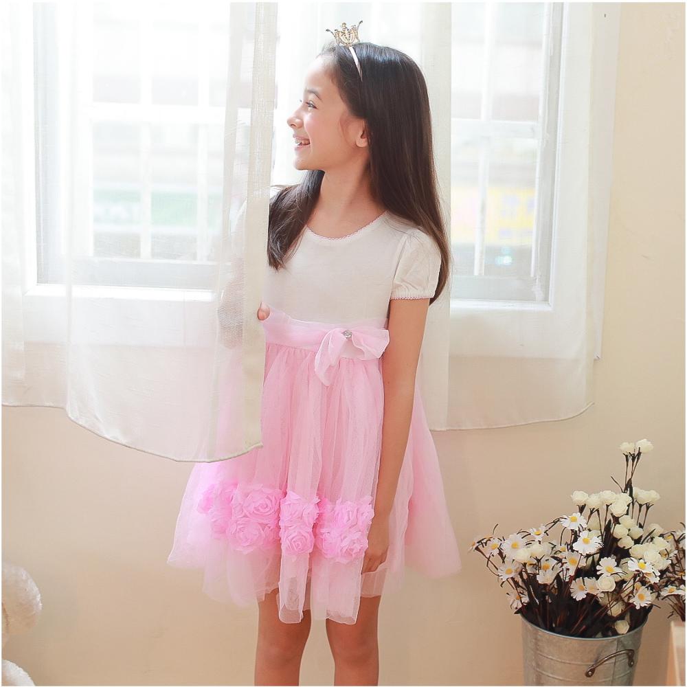 baby童衣 女童洋裝 短袖緞帶蝴蝶結紗紗裙 52352