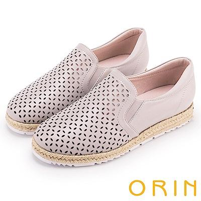 ORIN 引出度假氣氛 牛皮趣味簍空麻編平底便鞋-藕色