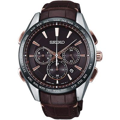 SEIKO精工 Brightz鈦計時太陽能電波腕錶(SAGA219J)-咖啡/42mm
