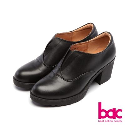 bac新世代龐克簡約素面V口紳士粗跟鞋黑