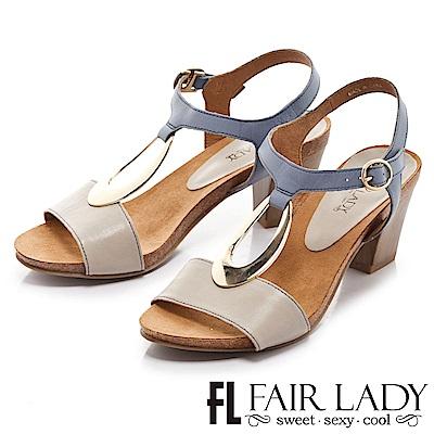 Fair Lady 摩登復古金屬飾木質高跟鞋 藍