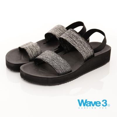 【WAVE3女款】台灣製金蔥厚底涼鞋-黑(17206301)