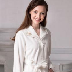 羅絲美睡衣 - 貴族氣息蕾絲厚睡袍(貴族白)