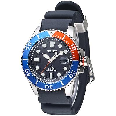 SEIKO SOLAR大刻度潛水夫200M男錶(SNE439P1)-黑*紅藍框/43mm