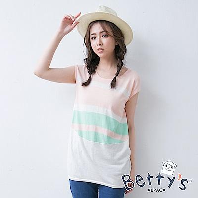 betty's貝蒂思 撞色無袖針織衫(淺粉)