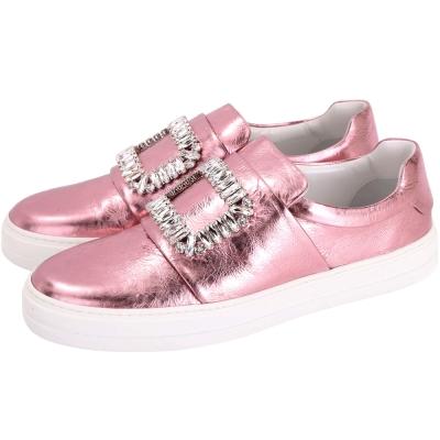 Roger Vivier Sneaky Viv 水晶方框爆裂紋皮革便鞋(金屬粉)