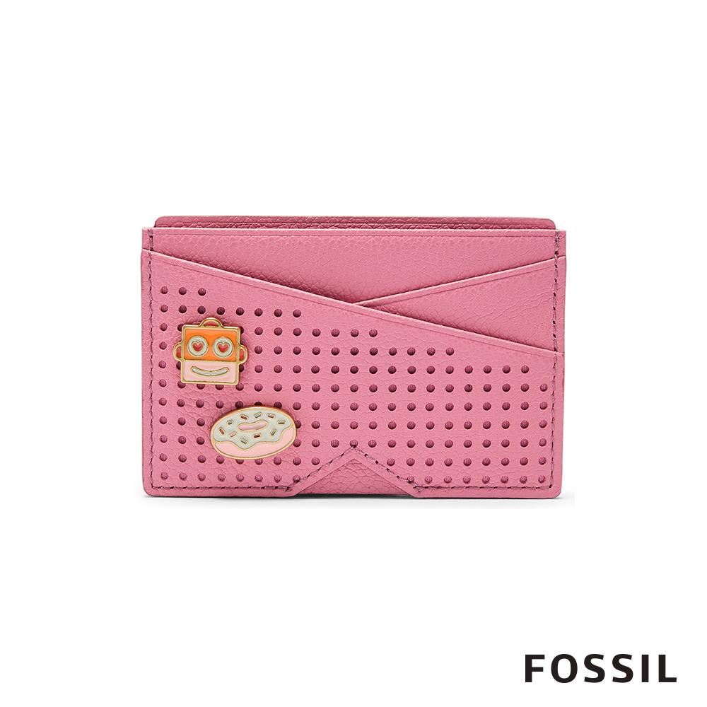 FOSSIL GIFT甜蜜機器人真皮名片夾-粉紅