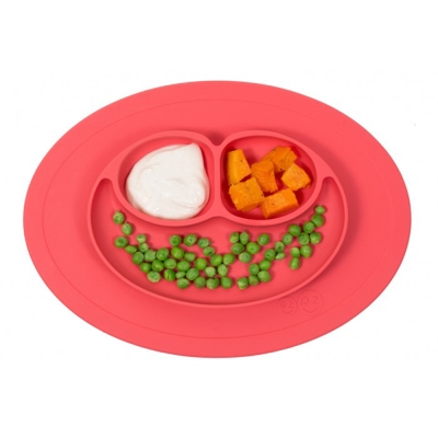 美國EZPZ矽膠幼兒餐具防滑餐盤- 珊瑚紅(迷你版)