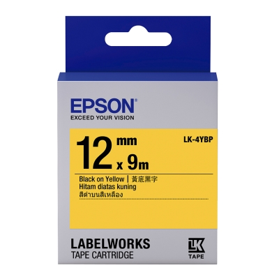 EPSON C53S654404 LK-4YBP粉彩系列黃底黑字標籤帶(寬度12mm)