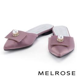 拖鞋 MELROSE 珍珠水鑽緞布尖頭平底拖鞋-粉
