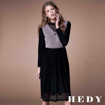 Hedy赫蒂 鏤空蕾絲拼接毛料長洋裝(灰色)