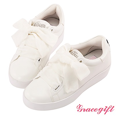 Disney collection by Grace gift蜜桃絨緞帶糖果休閒鞋 白