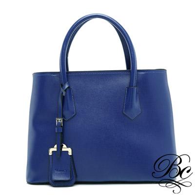 BELLUCY 歐美簡約十字紋時尚公文包(寶石藍)