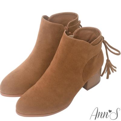 Ann'S首爾韓妞-後跟流蘇綴飾絨質粗跟短靴-棕