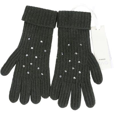 PINKO 深綠色貼飾條紋針織手套(64%WOOL)