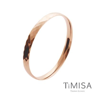 TiMISA《格緻真愛-寬版 (玫瑰金)》純鈦手環