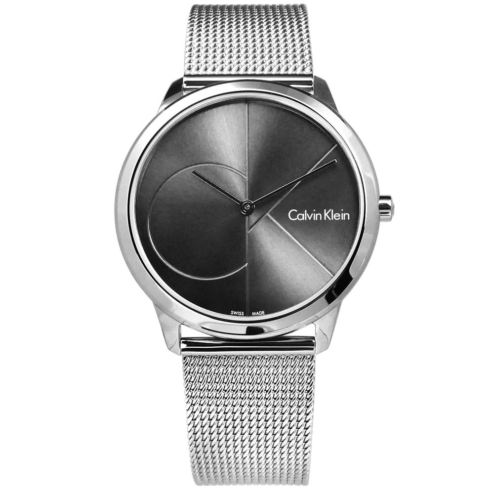 CK minimal 經典簡約大CK瑞士機芯防水米蘭編織不鏽鋼手錶-銀灰色/40mm