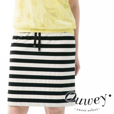 OUWEY歐薇-黑白線條運動風A字裙