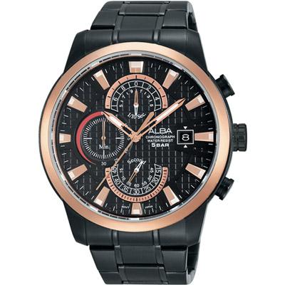 ALBA 限定潮流計時腕錶(AM3164X1)-黑x玫瑰金框/45mm