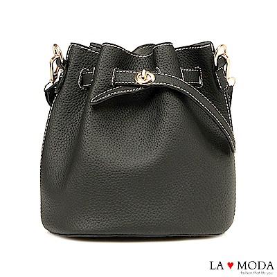 La Moda 輕鬆出遊去~小巧多Way肩背斜背水桶包(黑)