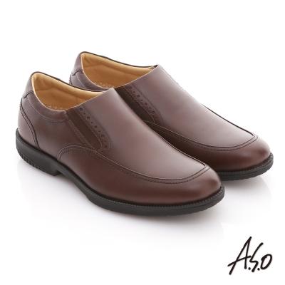 A.S.O 頂極氣墊 全真皮寬楦縫線直套式紳士鞋 咖啡色