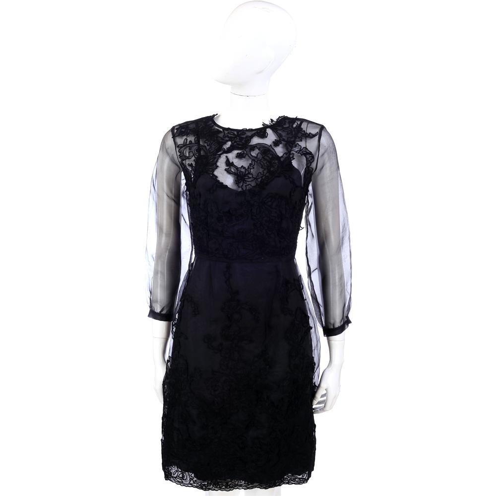 SCERVINO 黑色紗質蕾絲拼接七分袖洋裝