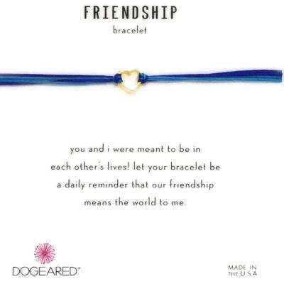 Dogeared Friendship 金色愛心手鍊 迷你墜 亮藍X寶藍 防水繩衝浪手鍊