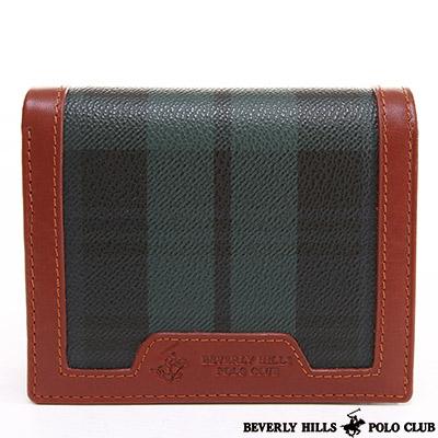 B.H. POLO -經典綠格紋 扣式零錢袋兩折短夾