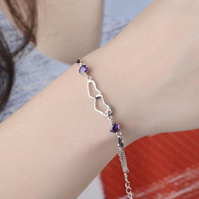 ACUBY 愛心交纏手鍊/紫