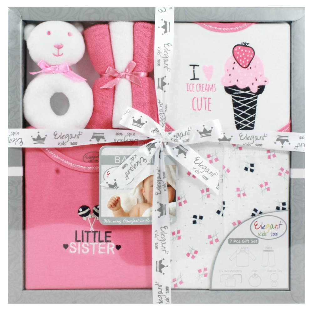 美國Elegant kids彌月禮盒-衣褲7件式禮盒
