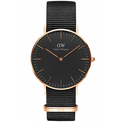 DW Daniel WellingtonCORNWALL經典尼龍手錶-黑X玫瑰金/36mm