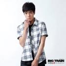 BIG TRAIN-基本款藍白格紋短袖襯衫-藍白格