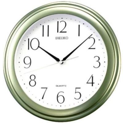 SEIKO 精工 數字面基本掛鐘-白x綠框/28.7cm