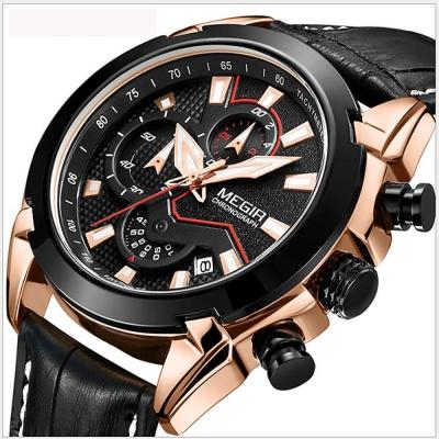 美國熊 大錶面 真皮錶帶三眼計時日期顯示精品腕錶