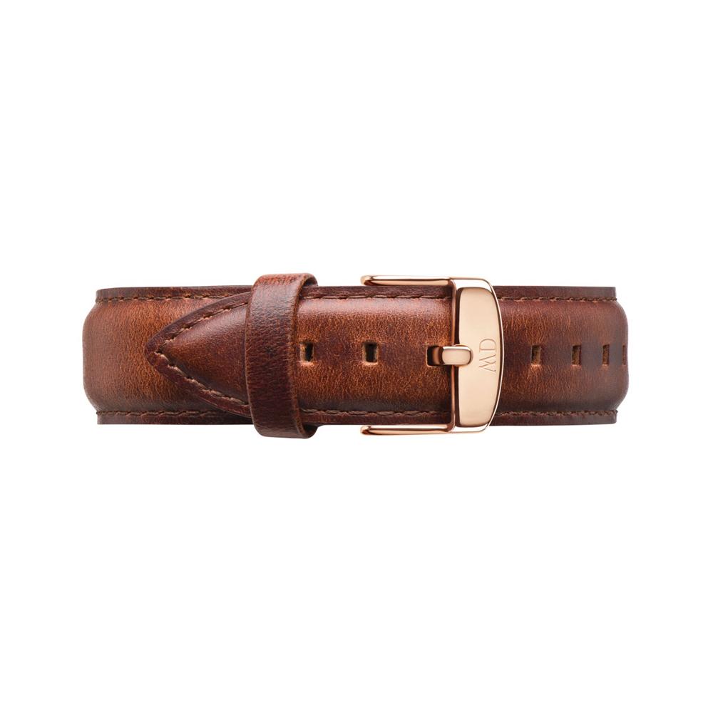 Daniel Wellington 原廠玫瑰金扣真皮錶帶-咖啡色/18mm