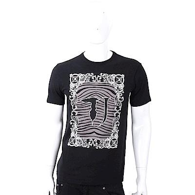 TRUSSARDI T字班馬紋圖印黑色棉質T恤