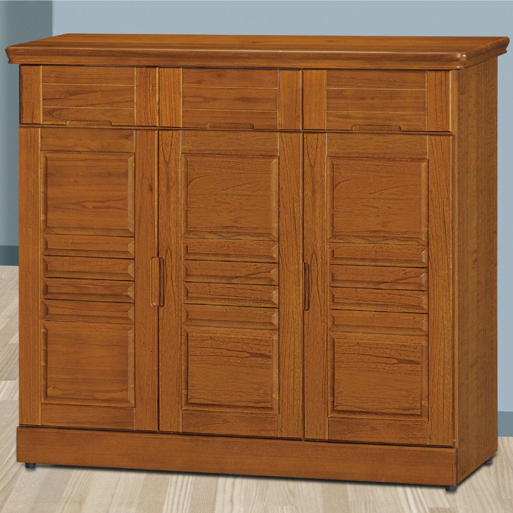 品家居 克維爾4尺樟木色實木三門鞋櫃