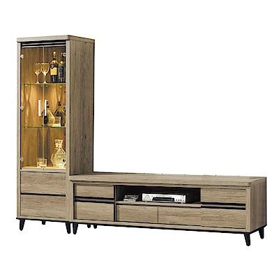 品家居 莎琳8.1尺L型電視櫃組合(長櫃+展示櫃)-224x49x185cm免組