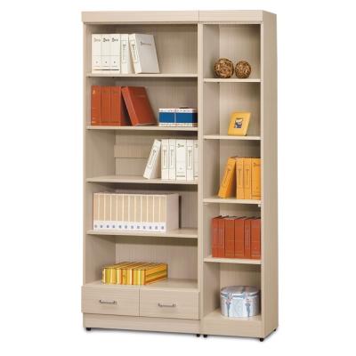 AS-傑西考克白橡色有抽開放式2.6尺+無抽開放式1.3尺書櫃-119x32x185cm