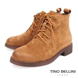 Tino Bellini 中性況味休閒綁帶短靴 _ 棕