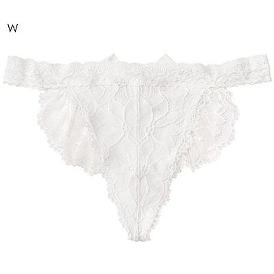 aimerfeel 性感全蕾絲緞帶丁字褲-白色