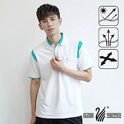 【遊遍天下】MIT台灣製男款吸濕排汗抗UV機能POLO衫SV085白/水綠