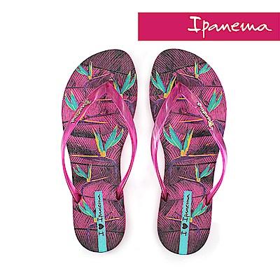 IPANEMA 熱帶花卉夾腳拖鞋-桃紅色