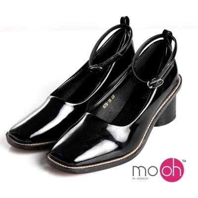 mo-oh-復古漆皮方頭皮帶扣繞帶瑪麗珍粗跟鞋-黑