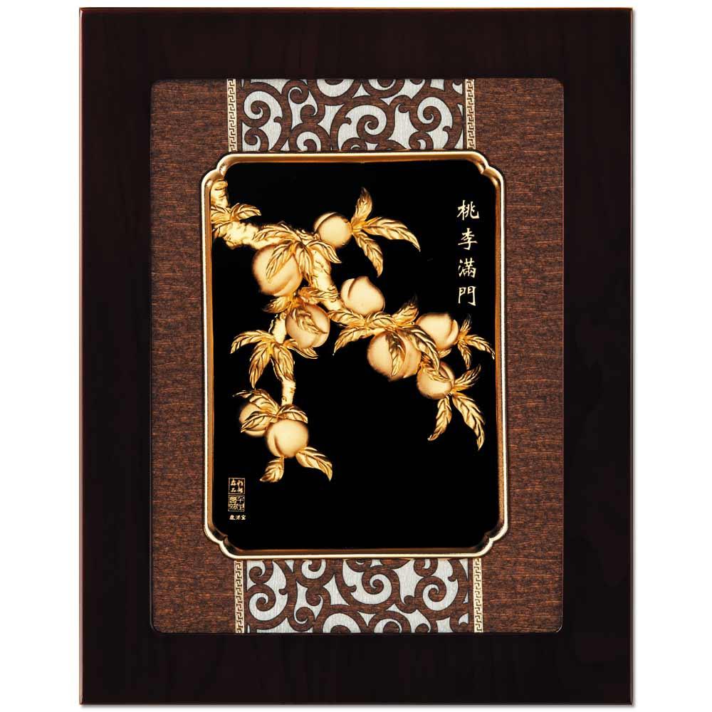 鹿港窯-立體金箔畫-桃李滿門(框畫系列27x34cm)