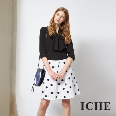 ICHE 衣哲 百搭黑白波點提花打摺造型及膝裙