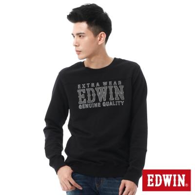EDWIN-變字LOGO剪接厚長袖T恤-男-黑色